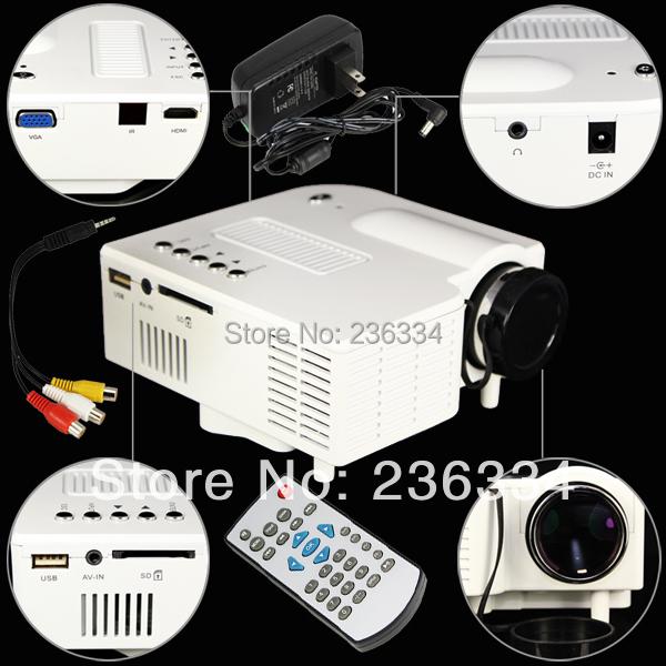 Free Shipping! Hot Sale White HDMI Mini Micro AV LED Digital Video Game Projectors Multimedia player Inputs AV VGA USB SD UC28(China (Mainland))
