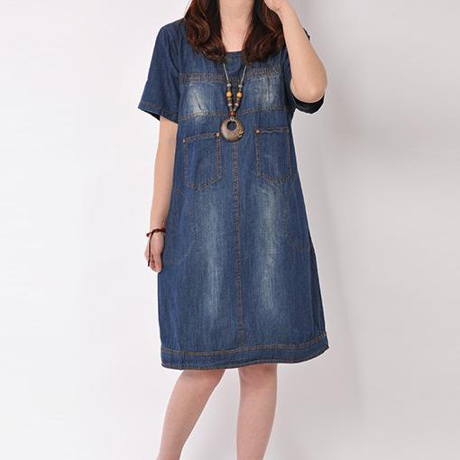 2015 spring and summer women's plus size dress slim denim dress vintage short sleeve one-piece dress female casual dress