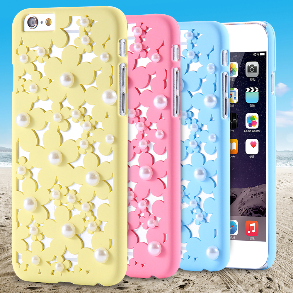"""Flower Pearl Decorated Hard Back Cover For iPhone 6 6S For iPhone 6Plus 6SPlus 5.5"""" 5S 5 Cute Colorful Girly Mobile Phone Case(China (Mainland))"""