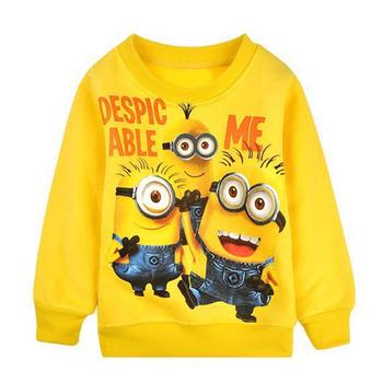2015 новый мальчиков девушка мультфильм дизайн круглые миньон воротник ватки дети носят футболки дети одежды