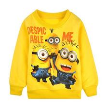 2014 New 1pcs baby boys girl Cartoon design round minion collar fleece children wear t-shirts Children's clothes