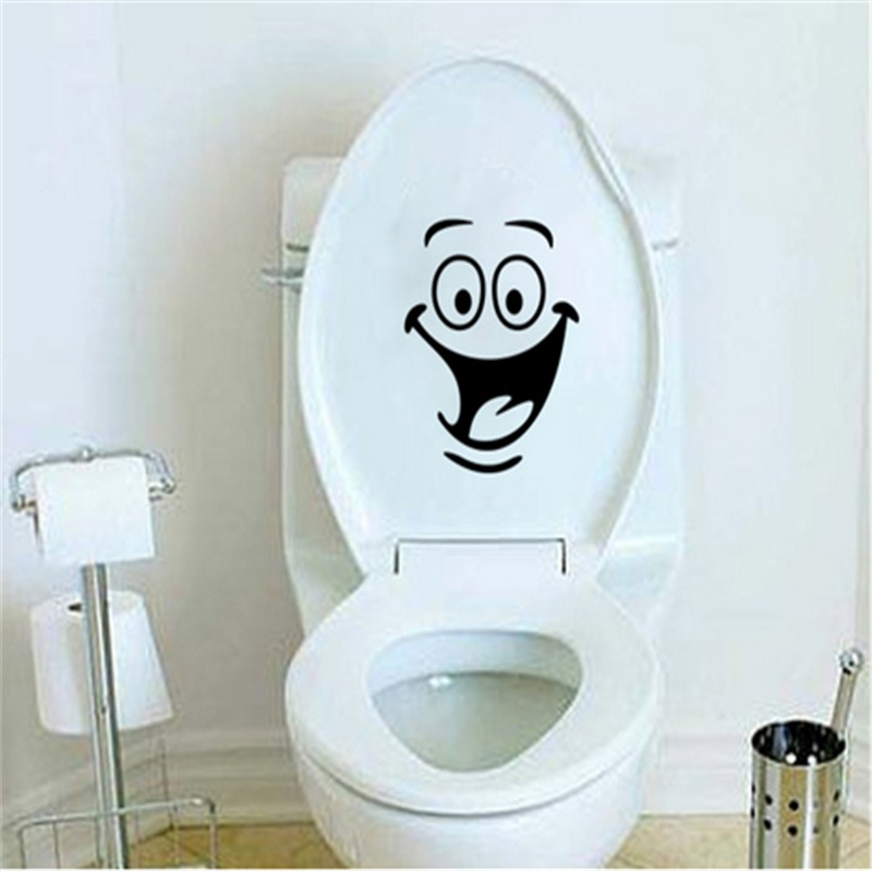 free shipping smiley face toilet sticker wall mural art decor funny bathroom wc sticker in wall