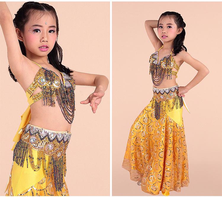 Fashion style belly dance costume set for girl stage performance belly dancing tassels design for children girl have 8 colorsÎäåæäà è àêñåññóàðû<br><br>