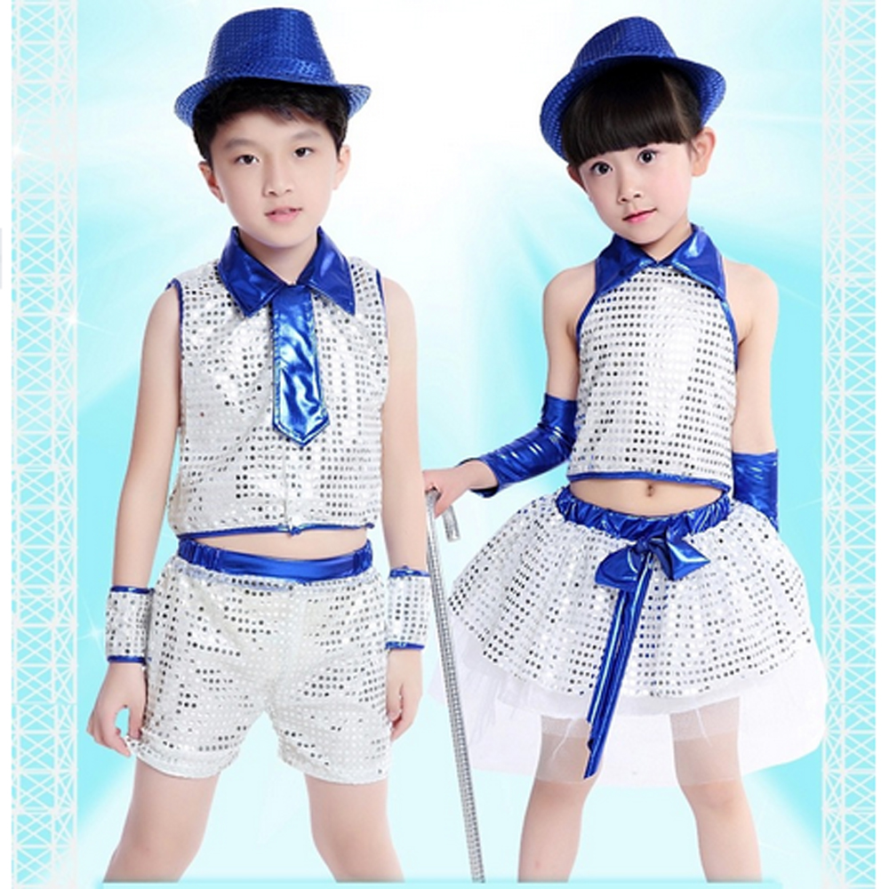 Boys / girls sequined hip-hop jazz dance modern clothes children dancing apparel school celebration Stage Performance - Children Clothing store