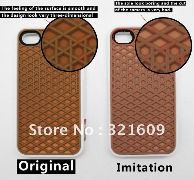 Free shipping (100pcs/lot) original popular waffle v an s case for iphone 4s 4g with  packaging