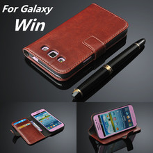 fundas Galaxy Win card holder cover case samsung galaxy i8552 leather phone ultra thin wallet flip - Sam Technology store