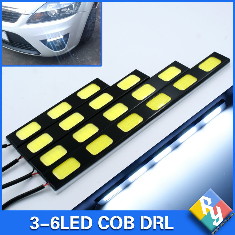 Super Bright Waterproof Car Truck DC 12V LED COB DRL Daytime Running Lights Auto Fog Lamp COB Light White Car styling(China (Mainland))