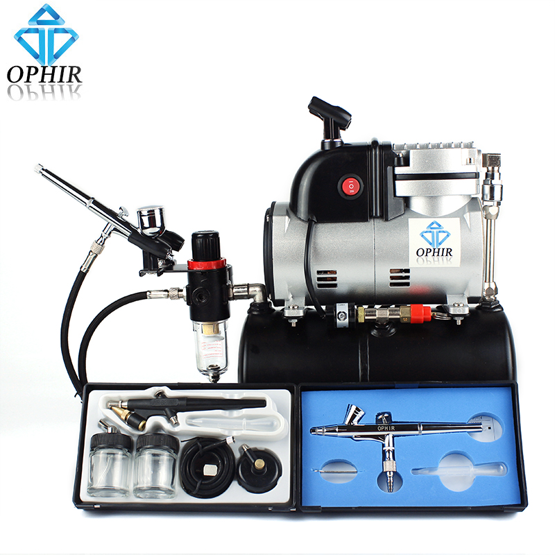 OPHIR 3 Airbrush Kit & Compressor with Tank Set Spray Air Brush Set for Nail Craft Art Paint_AC116+004A+071+073(China (Mainland))
