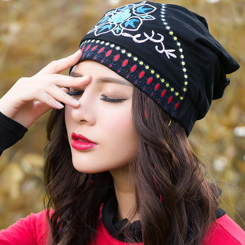 Ethnic skullies beanies women autumn spring Mexican style hippie black blue red floral embroidery hat beanies