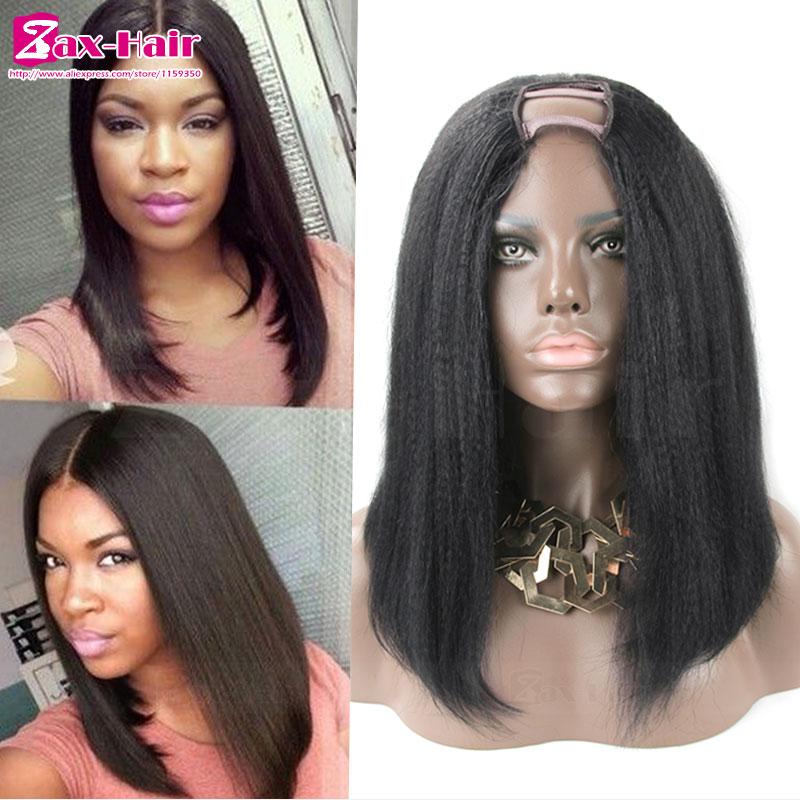 Фотография U Part Wig Brazilian Italian Yaki Straight U Part Wig Human Hair For Black Women Short Bob Wig 7A Virgin Human Hair Wigs Stocked