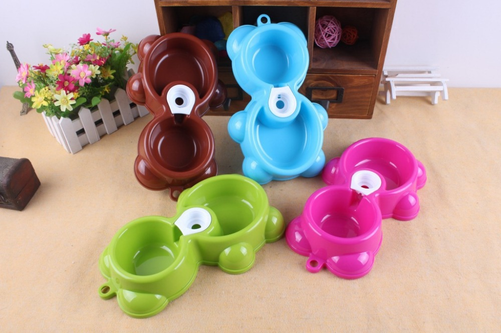 2015 Wholesale Pet Dog Puppy Cat Automatic Water Dispenser Drink Food Dish Feeding Bowl Dog Automatic Feeders 5PCS/Lot 20*10cm(China (Mainland))