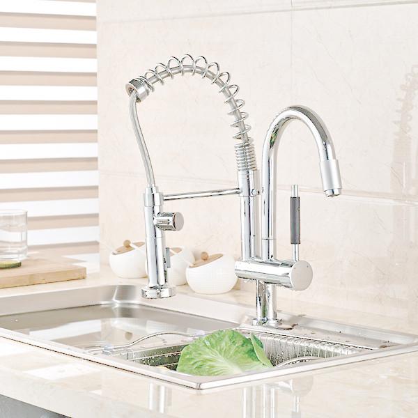 Купить Хромированная Отделка Латунь Кухонный кран Раковины Два Изливы Весна Кухонный Смеситель 2 Изливы Кухня водопроводной Воды