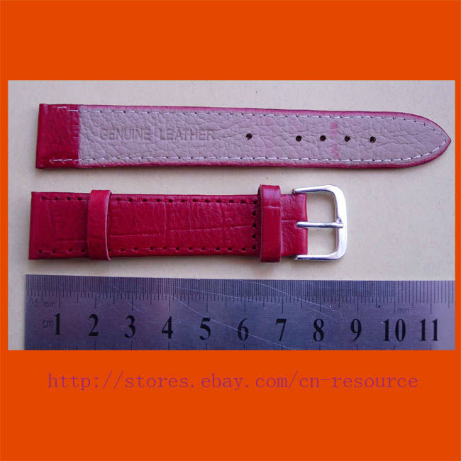1 x 18 mm GENUINE COW LEATHER watch band red 10