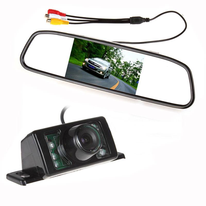 "Parking Kit With 4.3"" TFT LCD Display Car Rear View Mirror Monitor + 7 IR Night Vision RearView Reversing Backup Camera(China (Mainland))"