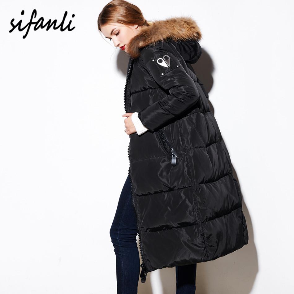 2016 Winter Women Jacket Sleeve Scissors Down Coat Female Thick Hoodies X-Long Knee White Duck Down Raccoon Fur Down Jacket(China (Mainland))