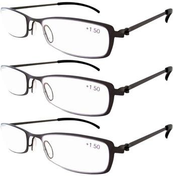 R12019 Eyekepper 3-Pairs Stainless Steel Frame Reading Glasses Gunmetal+1.0/1.25/1.5/1.75/2.0/2.25/2.5/2.75/3.0/3.5/4.0