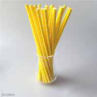 Free Shipping 25pcs/lot Polka Dot yellow creative drinking straw paper drinking tubes Decorations For Wedding