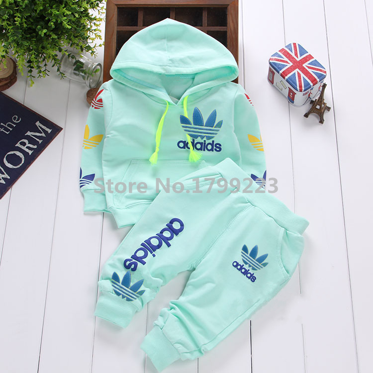 wholesale 2015 new brand spring baby boys set Children Tracksuit casual kids clothing sets girls sport suit hoodie coat + pant(China (Mainland))