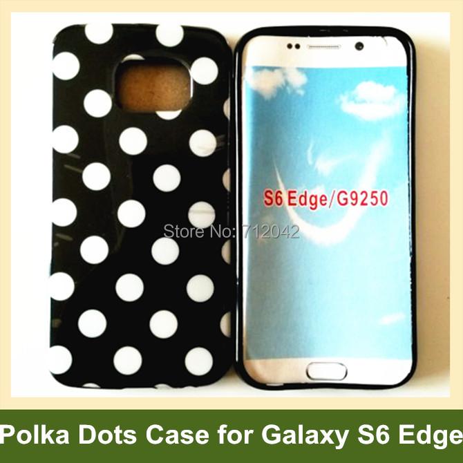 Cute Polka Dots Soft TPU Gel Cover Case for Samsung Galaxy S6 Edge G9250 SM-G925F 30pcs/lot Free Shipping