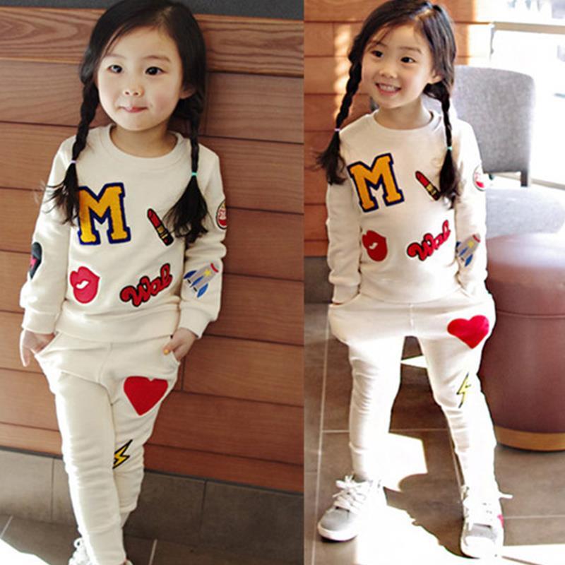 Retail 2016 New Girls Clothing Sets Baby Kids Clothes Children Clothing T Shirt + pants 2pcs Lipstick patch fashion set(China (Mainland))