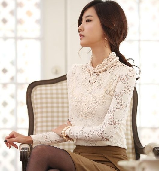 Images of High Neck Lace Blouse - Reikian
