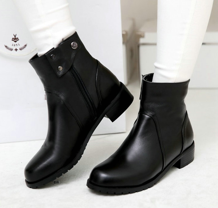 Womens black leather ankle boots low heel – Novelties of modern ...
