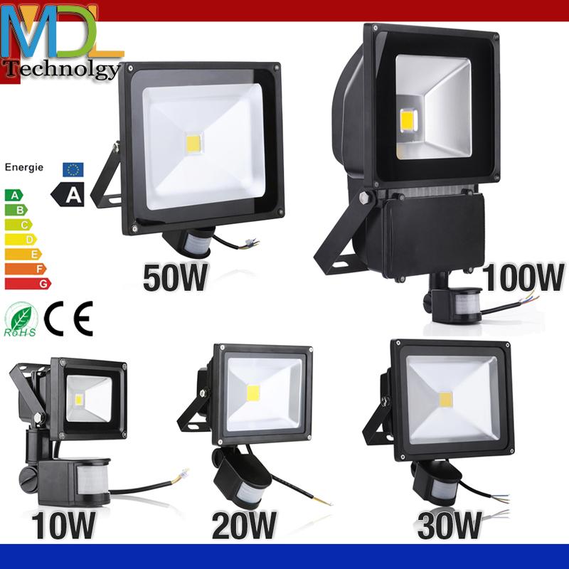 PIR Infrared Motion Sensor led floodlight 110-265V 10W 20W 30W 50W COB IP65 led Flood Light for Garden led spotlight outdoor(China (Mainland))