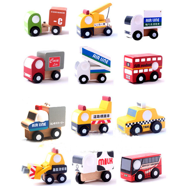 X004 12 pcs new wooden car model toys educational toys for children of taxi car milk food crane bus stands on two floors(China (Mainland))