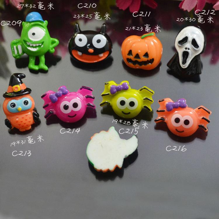 100pcs/lot Flat back resin Halloween cartoon Monsters Inc pumpkin owl spider mix Cabochons Scrapbooking Hair Bow Center DIY(China (Mainland))