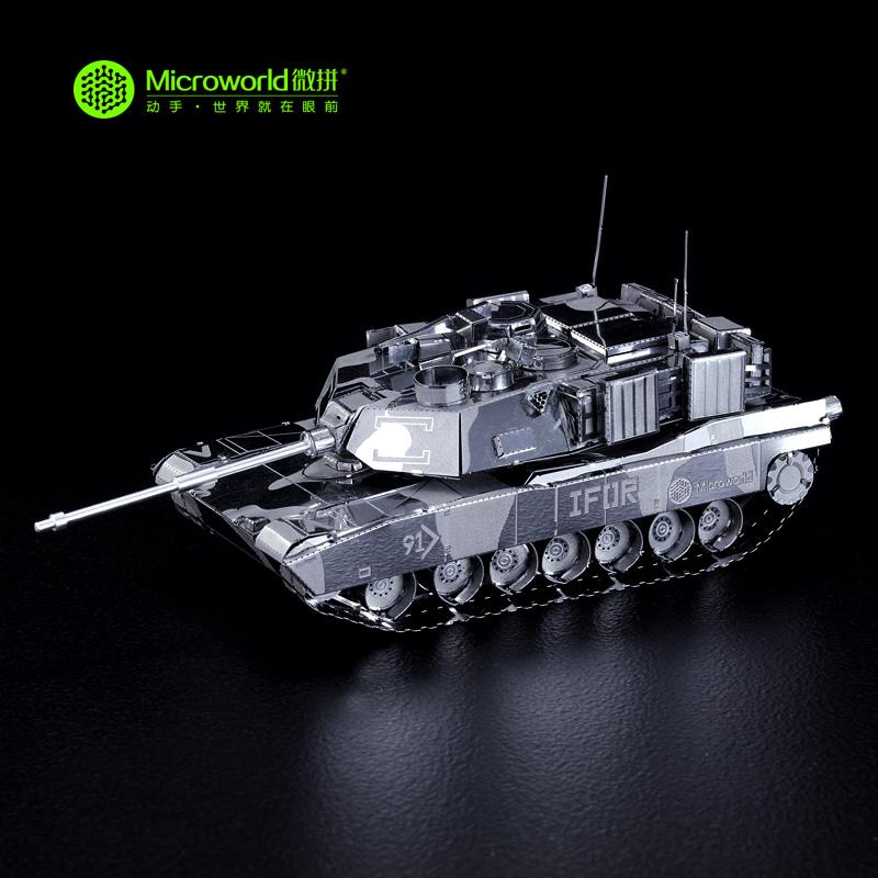 Microworld 3D Metal Puzzle US M1 Abrams Tank Building Model T001 DIY 3D Laser Cut Assemble Toys(China (Mainland))