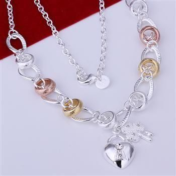 Wholesale 2014 New-Arrival Sterling Silver Necklace,925 Silver Fashion Jewelry, Inlaid Heart Lock And Flower Key XL-N212(China (Mainland))