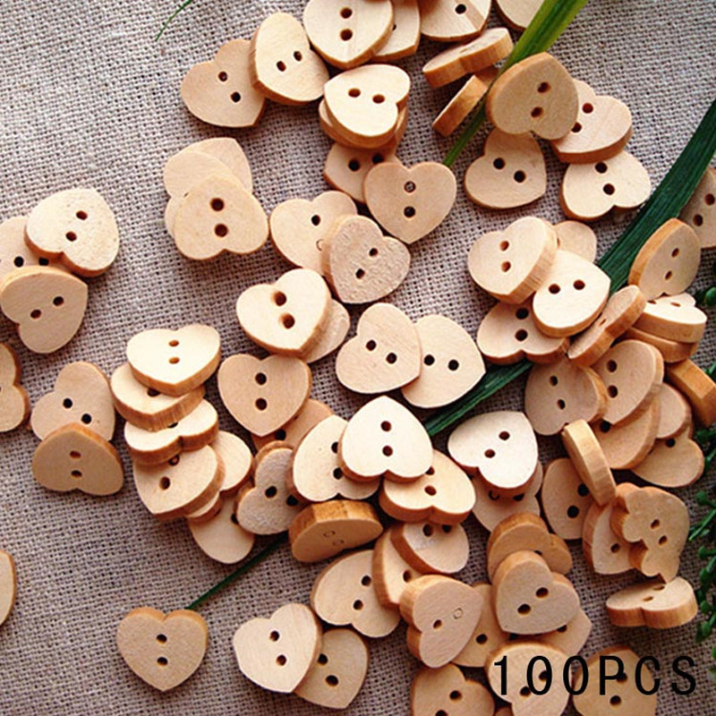 Fashion natural sewing buttons craft 100pcs lot heart for Craft buttons for sale