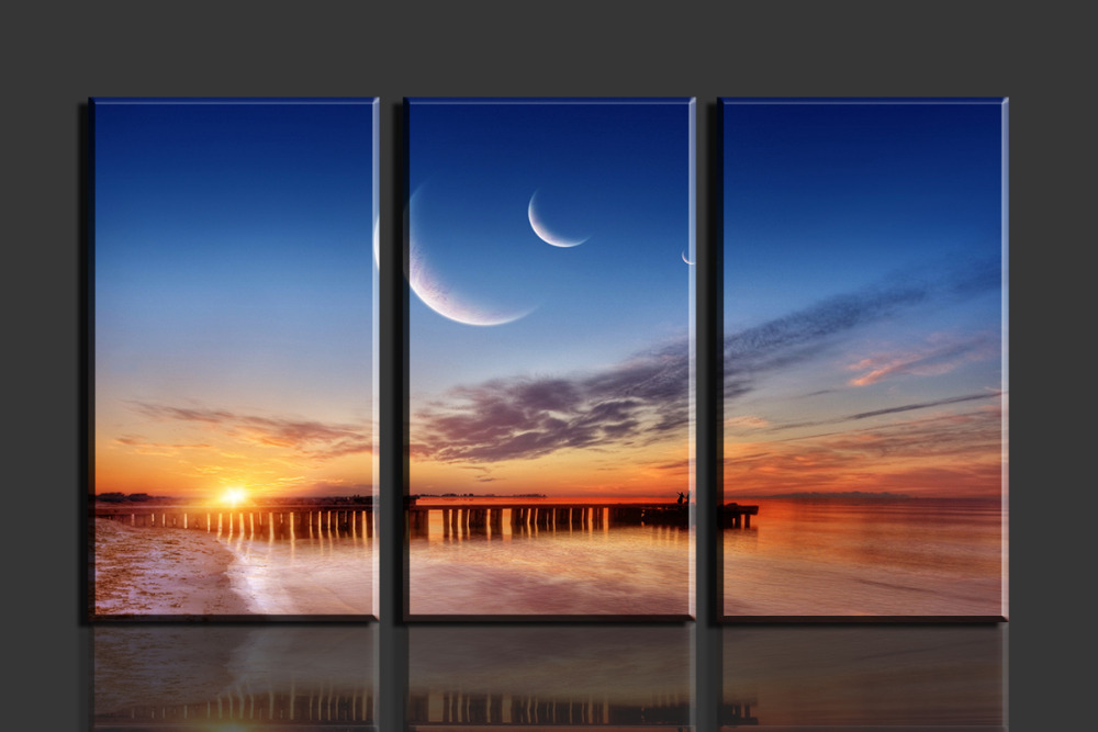 3 Panels Sun Beach HD Canvas Print Painting Artwork Modern Home Wall Decor painting Canvas Art HD Picture Paint on Canvas Prints