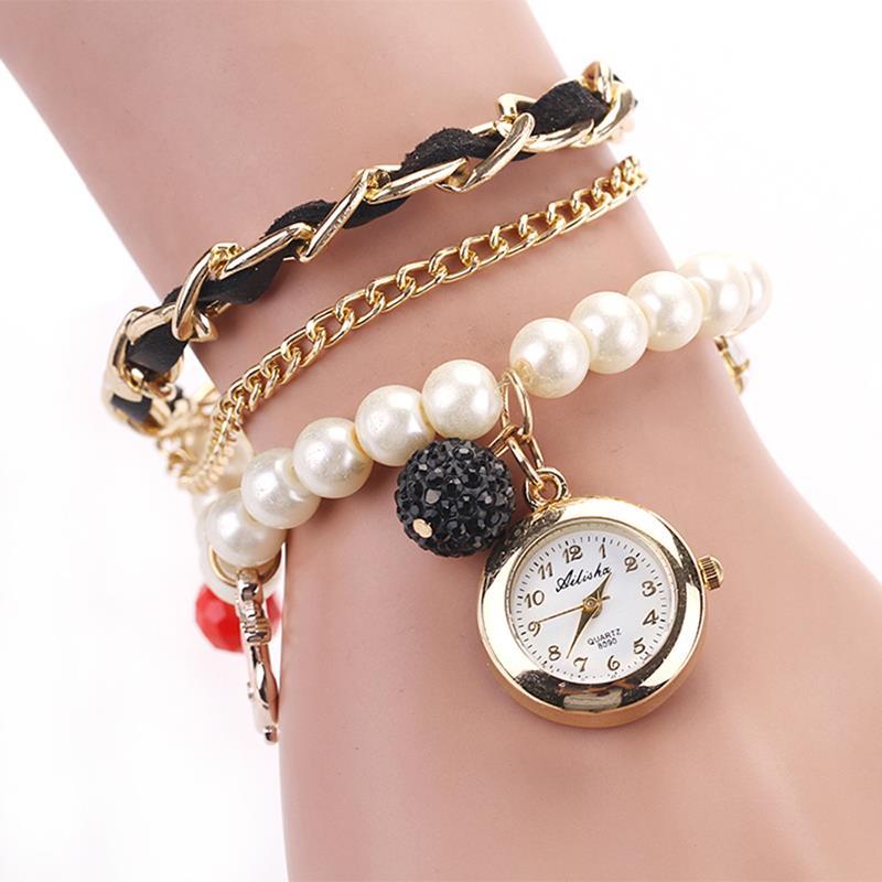 [MASCUBE]Hot Sale Metal Strap Quartz Watches Fashion Style Brand Plastic Beads Casual Bracelet Women Dress Anchor Pendant Watch(China (Mainland))