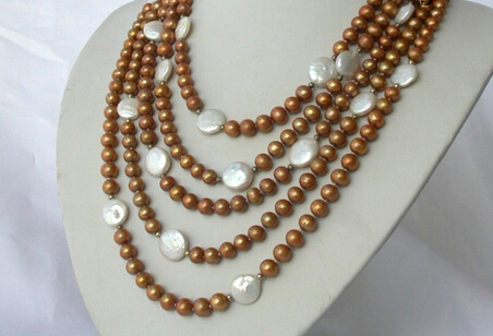 huij 003143 classic 5rows 7mm round coffee white coin freshwater pearl necklace(China (Mainland))