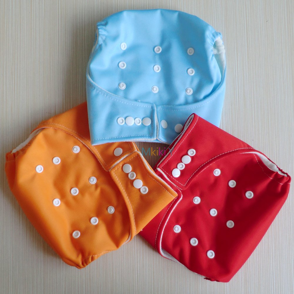 UNISEX BABY NAPPIES ORANGE RED BLUE CLOTH DIAPERS PUL COVERS without LINER INSERTS ONE SIZE FIT MOST WASHABLE - Mkiki Y store