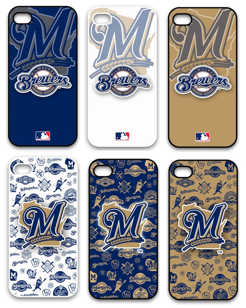 MLB Baseball Milwaukee Brewers Plastic Hard Back Cell Phone Case Cover Cases for Apple iPhone 4 And 4S(China (Mainland))