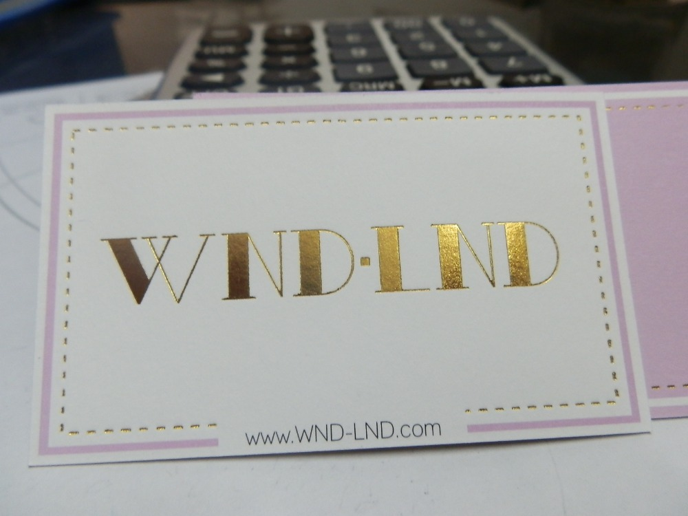 High quality Golden foil Hot stamping logo paper business card Printing on white paper card(China (Mainland))
