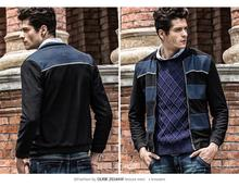 2014 Autumn Winter Spring New Style High Quality Fashion Popular Stripe Patchwork Slim Young Men Outdoor