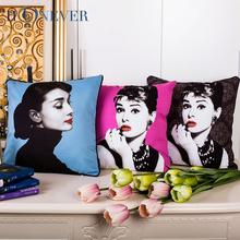 Audrey Hepbum Printed Throw Pillow Covers for Couch Car Decoration
