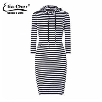 Elia Cher бренд зимой 2015, жеский платье чёрно-белые полосы в капюшоне, качество ткани ...