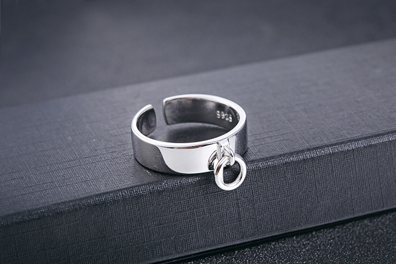 Quality Men Vintage Jewelry Real 100% 925 Sterling Silver Ring Punk Opening Design Engraved Cuff Ring for Men(China (Mainland))