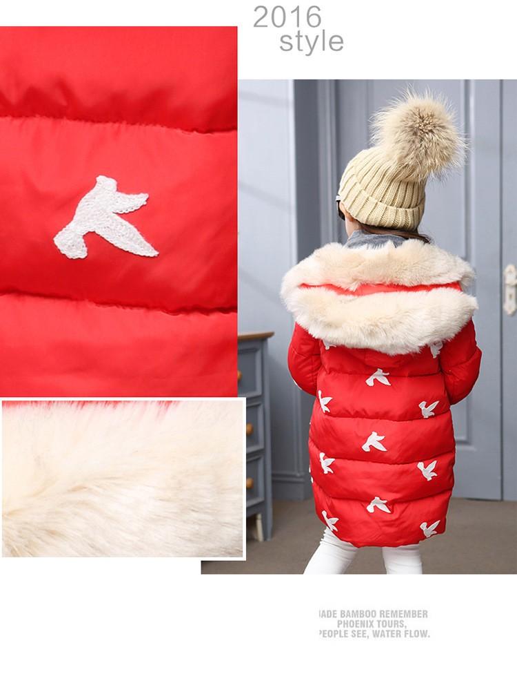 Скидки на 2016 новорожденных девочек одежда зима девушки куртки и пальто цветок с капюшоном дети верхней одежды галстук-бабочку pincess длинные девушки зимние куртки