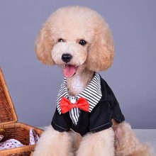 Fashion Cool Small Pet Dog Clothes Western Style Men's Suit Bow Tie Puppy Costume Pet Dog Clothes Size XS XL New(China (Mainland))