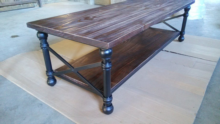 Table basse en bois et fer forge - Table en bois moderne ...