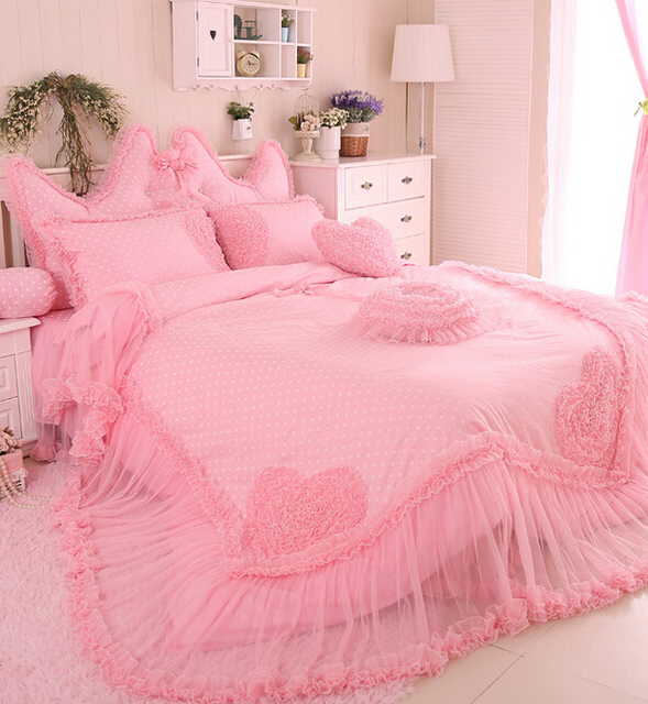Buy princess luxury lace bedding sets cotton girls twin full queen king size - Twin size princess bed set ...