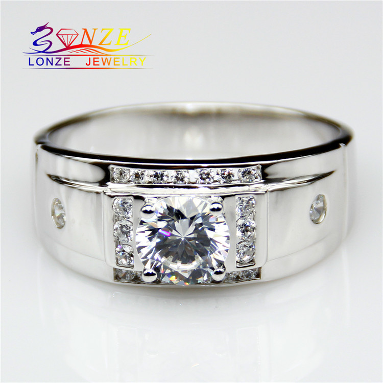 Center 1.5CT Synthetic Diamond Mens Band Sterling Silver Accents ASCD Simulated Diamond Plated Platinum Mens Wedding Band<br><br>Aliexpress