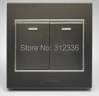 free shipping wall switch two on double control wall switch coffee color mcosu(China (Mainland))