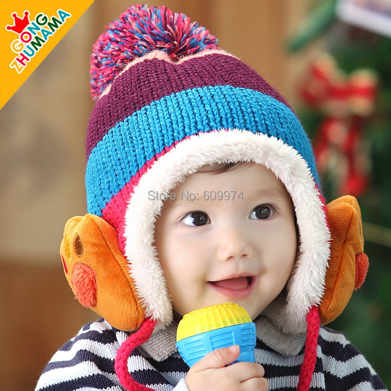 Winter Children Knitted Kids Caps Scarf Hat Set Baby Boys Girls Hats Free shipping W3697(China (Mainland))