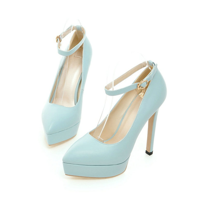 Sexy Fashion Red Bridal Shoes Pointed Toe Ankle Strap Thin High High Heel Pumps Women 2016 New Shoes